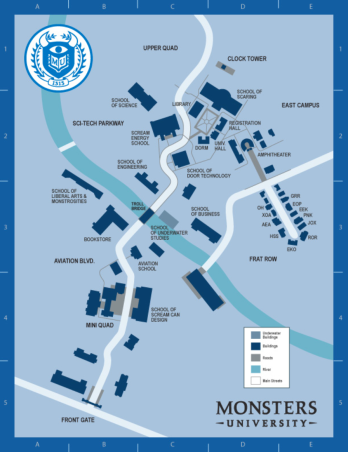 The Monsters University campus map.